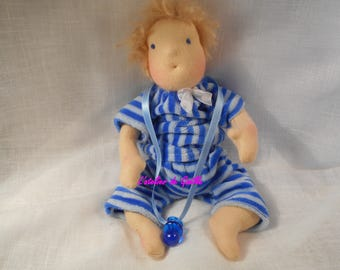 Theo, 21 cm Waldorf doll with her clothes and his pacifier
