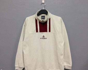 Rare!! LE COQ Sportif Sweatshirt Half Zipper Large Size