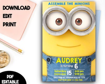 Minion Invitation, Minion Birthday Invitation, Minion Birthday, Minion PDF Editable, Minion PDF Editable Template, Minion Instant Download