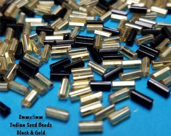 Approx. 500, Seed Beads, Glass Seed Beads, Indian Seed Beads, Glass Indian Beads, Earring Beads, Black Gold Beads, Jewelry Making, #5F