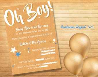 Digital invitation Baby Shower Oh Boy!