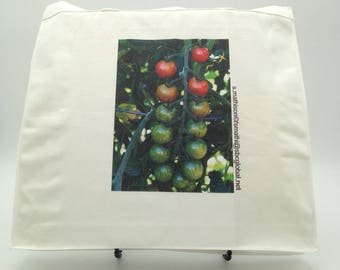Tote Bag with Cherry Tomatoes Front Image Printed-Skinny Depth