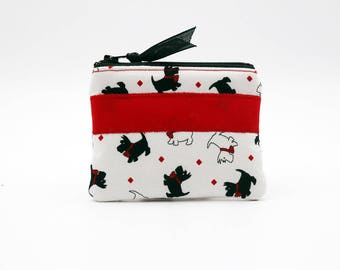 Scotties and Westies on White Background with a Solid Red Stripe Coin Purse