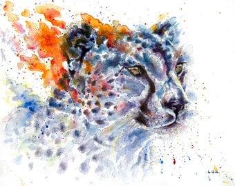 Burning Savanna Cheetah Original Watercolor Painting High Quality Giclée Print canvas home decor office nursery animal art gift PRINT Africa