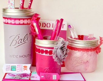 Hot Pink Desk Accessories,Teen Gift,Teen Room Decor,womens Office Supplies  Included