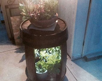 Outdoor planter with solar lamps