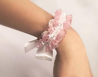 Bridesmaid bracelet with crystals and organza frill | Bridesmaid gift | Bridesmaid gift