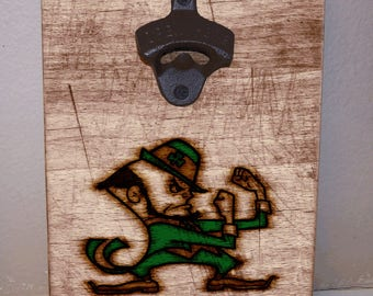 Wall Mounted Bottle Opener, Key Holder, Notre Dame, College Football, NFL, Football, Sports, Man Cave, Personalized Rustic Bottle Opener