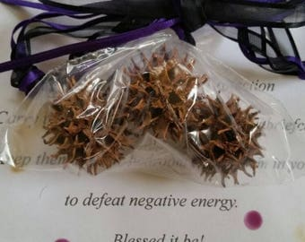Witches Burrs and Ribbon Protection Charm