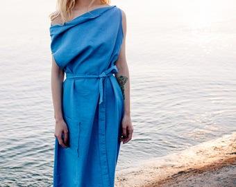 Linen dress Arjava, Blue maxi dress, dress-meditation, long dress, yoga dress, boho dress