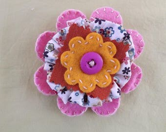 Pink and Orange Ditsy Floral Fabric Brooch