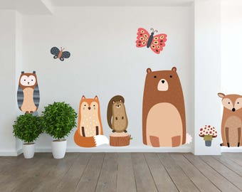 Removable Vinyl Wall Decal for Kids Room & Nursery Kids Wall Art Peel and Stick Cute Woodland Animals Set of 16