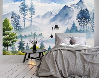 Removable Wallpaper Mural Peel & Stick Watercolor Landscape