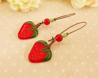 Strawberry polymer clay earrings, spring, polymer clay earrings jewelry strawberries, strawberry earrings