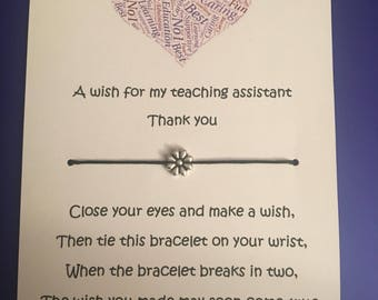 Teacher and teaching assistant wish bracelets. End of year gifts