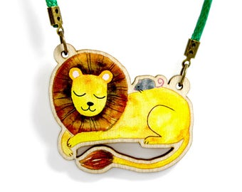 Kids Jewellery Necklace Wooden ***LION & MOUSE***
