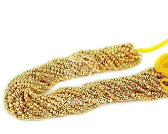 Natural Golden Pyrite 3-4mm Faceted Roundels, 13 inch strand, Golden Pyrite Rondelle Beads (R-PYR-0047)