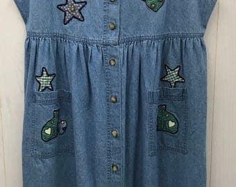 Vintage Christopher & Banks 1990s 1980s Denim Dress Long Button Up Cats Hearts Stars Patches Retro Size XL