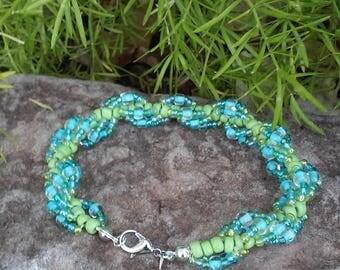 Blue & Green Spiral Beaded Bracelet