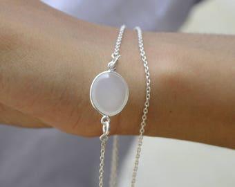 White Quartz  Birthstone necklace, Bridesmaid Gift , Mothers Necklace gift ,  Solid silver Silver White Quartz Necklace Chain