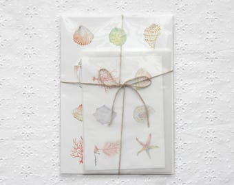 Letter writing set with shells