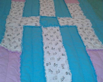 Turquoise and Pink Dog Rag Quilt