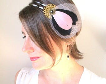 Headband pink and black tulle feathers pink retro, vintage crazy-Charleston-holiday season.