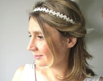 Headband/wedding-stripe lace pattern ivory small knots-Bohemian spirit.