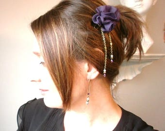 Clip/accessory, retro brass hair and flower purple textile, beaded chains