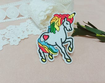 colorful unicorn patch ,iron on patch ,embroidered patch ,patch for jacket ,DIY emboidery