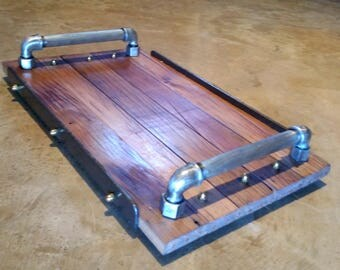 Vintage industrial serving tray with reclaimed wood