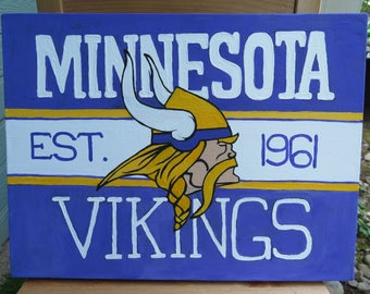 "Minnesota Vikings Logo Hand Painted on Canvas 12""x16""- Sports Team Wall Art - Handmade Gift - Football Painting - Man Cave Gift"