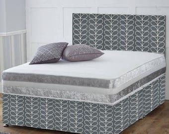 Bed valances made to measure, Orla Kiely linear Stem, charcoal grey