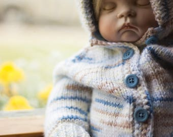 Baby Sweater Size 0-6 Months, Knitting, Handmade, Baby Gift, Blue, Brown, Baby Boy, Hooded Sweater, Buttoned Sweater, For Baby