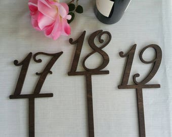 """16"""" Tall Numerical Wood Table Number"""
