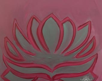 Soft Lotus Original Folk Art Painting