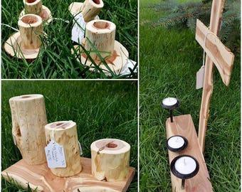 Rustic Wood Candleholders