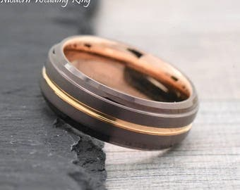 Mens Unique Ring, Brown Tungsten Promise Ring for Him, Coffee Ring with Rose Gold IP Tungsten, Brown Wedding Band Mens, Unique Wedding Ring