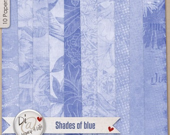Digital Scrapbook Papers, Shades of Blue, Digital Papers, Variations of Blue, Digital Scrapbook Papers