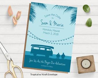 Beach Wedding Save the Date ~ Beach Save the Date Card ~ Camping Save the Date ~ Travel Save the Date ~ Tropical Wedding Save the Date