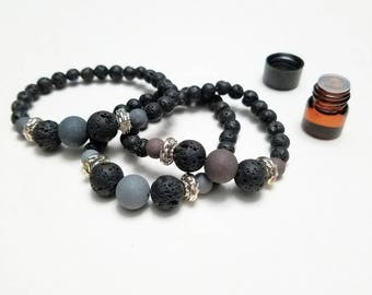 Lava stone bracelet | essential oil diffuser | black lava stone | lava rock | bracelet | bead bracelet | aromatheropy | stretch bracelet