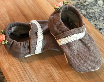 Handmade Soft Sole Baby  Shoes Infant Booties Moccasins Girl 0-6 months Baby Shower Gift