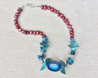 poseidon necklace  // gifts for her // one of a kind // pendant // blue // red