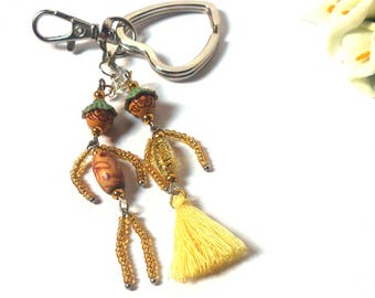 Couple Keychain - Yellow / Gold Doll - Couple made from Beads and Tassel - Key Set Man / Woman - Funny Dolls - Heart Keyring