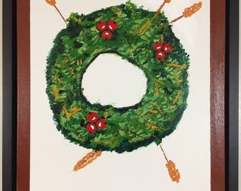 Original Acrylic Painting 16x20 - Prairie Winter Wreath