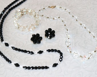 Lot of Vintage Black Faceted Beaded Necklace and Earrings, Clear Crystal Bead Necklace and Bracelet