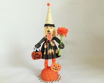 "Labradoodle HALLOWEEN PUMPKIN girl vintage style spun cotton DOG 6"" figure"