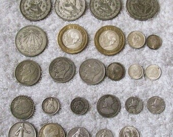 26 Silver Foreign Coins Mexico France Japan Africa Venezuela Philippines Austrailia Sweden Switzerland Europe Central South America