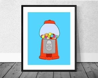 Sweets Art Print, Gumball Machine Art, Kitchen Art Print, Children's Room Art Print, Sweet Machine, Gumball Machine, Quirky Illustration