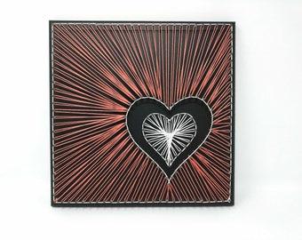 Off-Center Hearts String Art